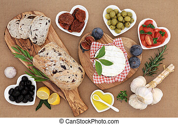 Healthy and Wholesome Food - Healthy fresh food with olive...