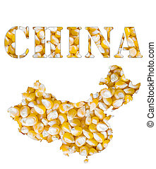 A texture of yellow corn maize seeds with the shape of the...