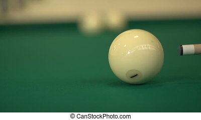 Hitting the cue ball - Russian billiards, board game on a...