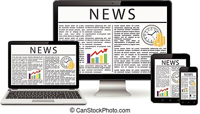 Modern desktop monitor, laptop, tablet and phone with news site screen