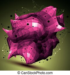 Spatial vector colorful digital object, purple 3d technology...