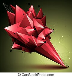 3D mesh contemporary style abstract object, bright origami...