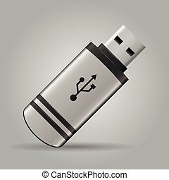 USB Flash Drive - USB flash drive isolated on grey...