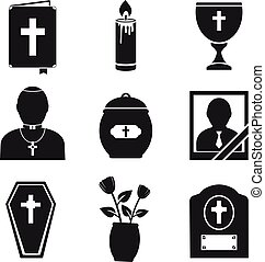 Funeral Icons Set - Funeral and burial icons set