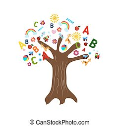 Education concept tree with children's icons. Tree on white...