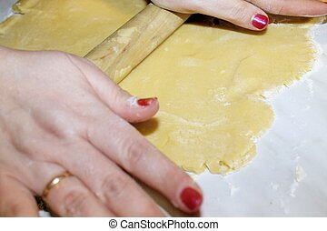 rolling pin on dough