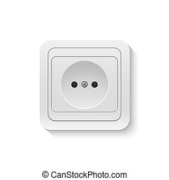 power socket - Realistic plastic white power socket isolated...
