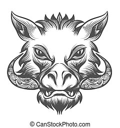 Boar head drawn in tattoo style Isolated on white