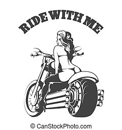 Ride with Me - Sexy biker girl in bikini and boots on a...