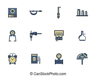 Flat color design measuring devices vector icons - Measuring...