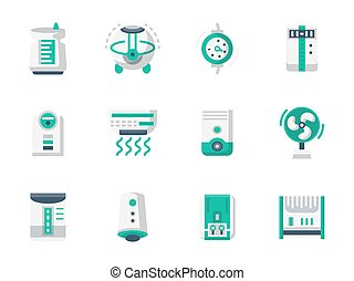 Climatic technics flat design vector icons set - Equipment...