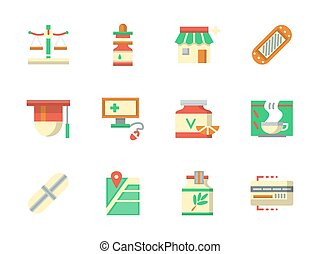 Flat color design chemists shop vector icons - Pharmacy and...