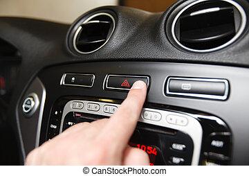 emergency button on car dashboard