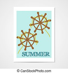 Summer poster with ship wheels.