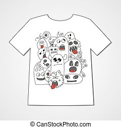 T-shirt with abstract set of monsters. Colorful print.