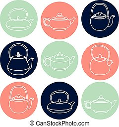 Vector set of white silhouettes teapots icons