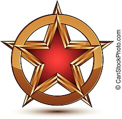 Refined vector red star emblem with golden borders, 3d...