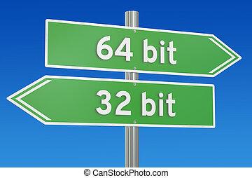 32-bit vs 64-bit concept, 3D rendering