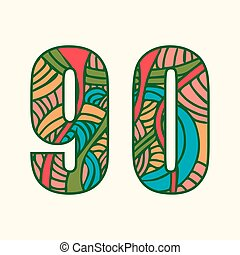 Set of doodle numbers including two numbers with abstract pattern on them.