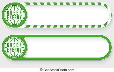 Striped buttons for your text and green energy symbol