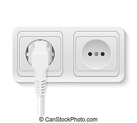 power socket with cable plugged - Realistic plastic power...