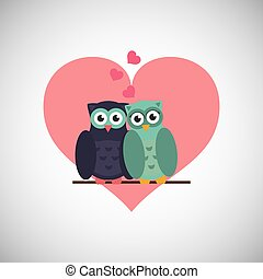 Love with owl design, vector illustration