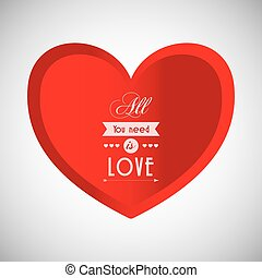 Love with heart design, vector illustration