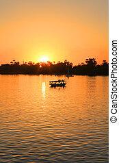 Nile sunset - Golden sunset along the Nile River in Egypt...