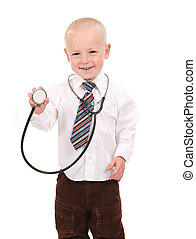 Boy Prentending to be a Doctor