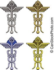 Dentistry Symbol In Four Colors is an illustration of an...