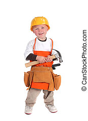 Construction Building Worker Wearing Hard Hat - Little Boy...