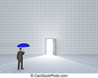 White room with binary code and door with bright light and man