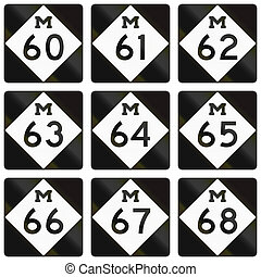 Collection of Michigan Route shields used in the United...