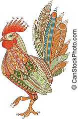 Rooster domestic farmer bird for Coloring pages, zentangle illustration or tattoos with high details.