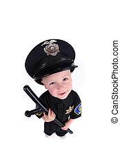 adorable, imagen, niño, policía, oficial