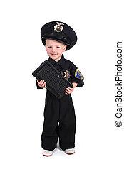 joven, policía, oficial, tenencia, boleto, libro