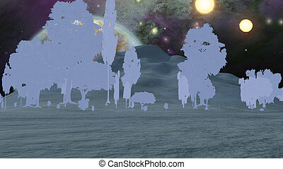 Thin Paper trees in fantasy landscape