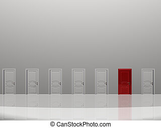 Sinigle red door in huge white wall in white space