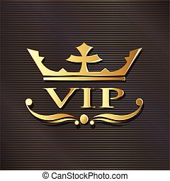 VIP logo in golden luxury background. Vector graphic design