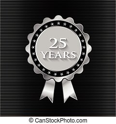 25 year silver ribbon with stars. Logo graphic design