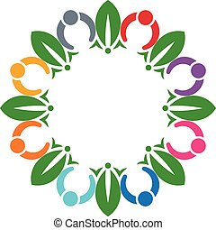 People circle loving plants logo Vector graphic design