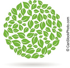 Circle of leaves logo Vector design graphic illustration -...