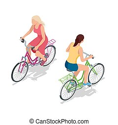 Cyclists on bikes. People riding bikes. Bikers and bicycling. Sport and exercise.  Flat 3d vector isometric illustration.