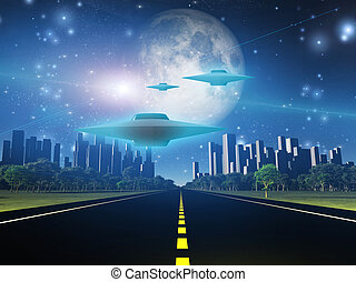 Highway to city with large moon and alien ships