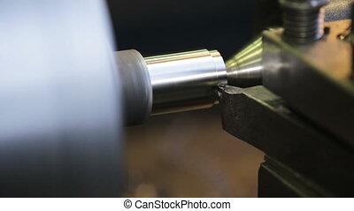 metal milling machine - Turning lathe in action.Facing...