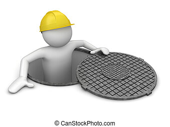 Business collection - Worker in hatch - 3d characters...