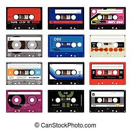 Vintage cassette tapes vol 5 - Retro plastic audio cassette,...