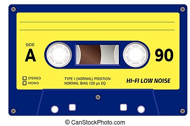 Vintage cassette tape - Retro plastic audio cassette, music...