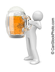 Lifestyle collection - Man with beer - 3d characters...
