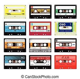 Vintage cassette tapes vol 4 - Retro plastic audio cassette,...